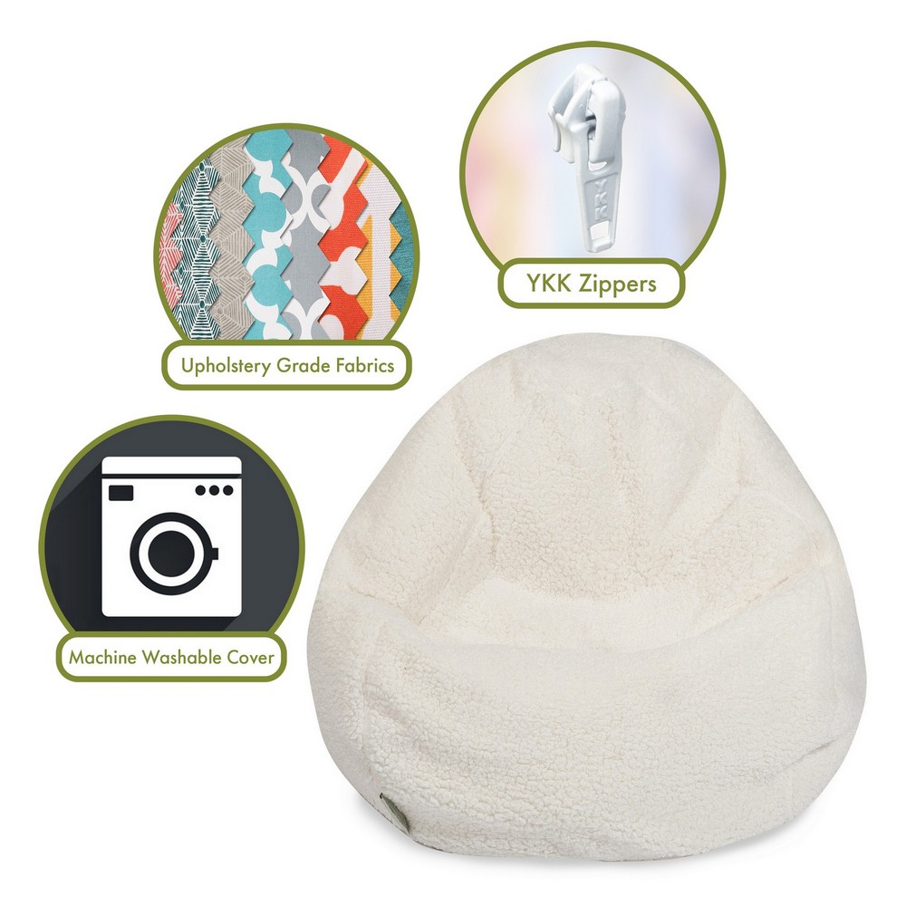 Superb Solid Cream Sherpa Large Bean Bag Chair Dailytribune Chair Design For Home Dailytribuneorg